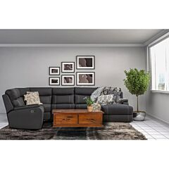Porter 6 Seat Modular Lounge with Sofa Bed Rental in Onyx Lifestyle Image including coffee table