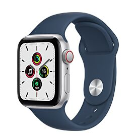 Apple Watch SE GPS + Cellular 40mm Silver Aluminium Case with Abyss Blue Sport Band